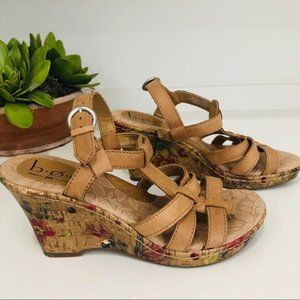 B.O.C. Born Concepts Leather Floral Wedge Sandals
